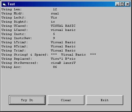 VB Built-In Functions
