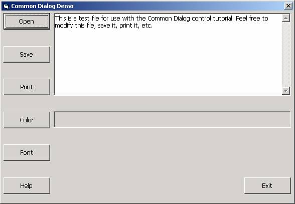 The Common Dialog Control
